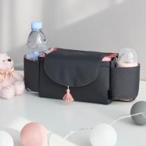 韓國 Conitale 雙杯套可掛式推車置物袋-粉紅流蘇