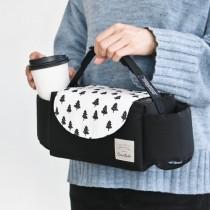 韓國 Conitale 雙杯套可掛式推車置物袋-黑白耶誕